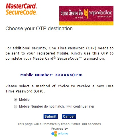 Pnb asks you whether the otp to be sent is with you