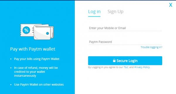 paytm login page and signup page for new paytm users