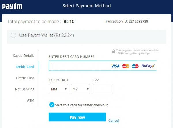 select from a variety of option to pay your recharge amount from atm card debit card credit card netbanking and imps