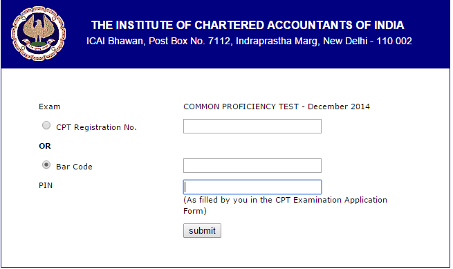 Download CA CPT Admit Card 2014