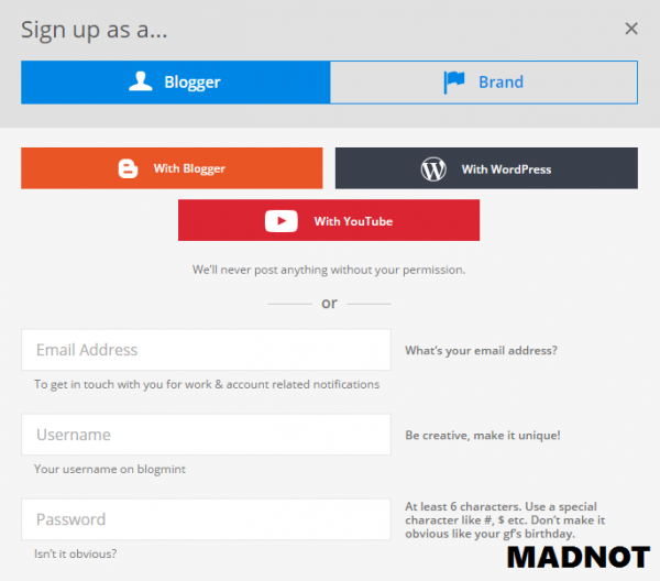 How to create account in blogmint