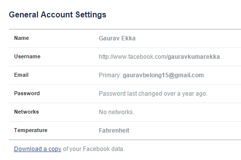 Download a copy of your facebook data