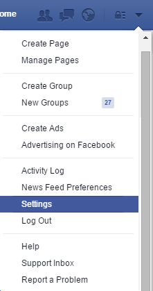 Facebook click on settings