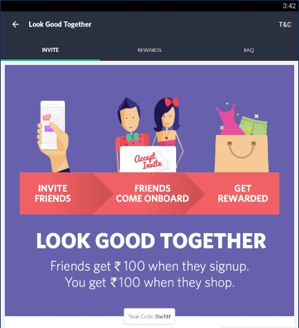Refer and earn in myntra money