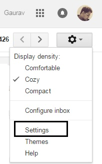 Click on setting on gmail