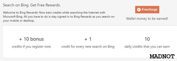 everytime you search using bing you will get 1 credits