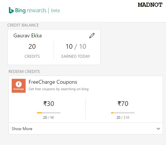 Earn Rs.100 using bing your daily search engine