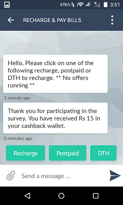 Rs.15 cashback on completing surveys