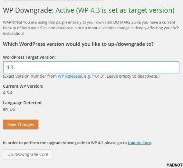 In order to perform the upgrade/downgrade to WP 4.3 please go to Update Core.